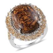 Indian Script Stone, Brazilian Citrine, Diamond Platinum Over Sterling Silver Ring (Size 8.0) TDiaWt 0.02 cts, TGW 18.550 cts.