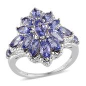 Tanzanite Platinum Over Sterling Silver Ring (Size 8.0) TGW 3.430 cts.