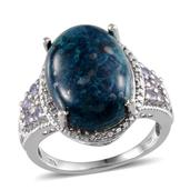 Table Mountain Shadowkite, Tanzanite, Diamond Platinum Over Sterling Silver Ring (Size 7.0) TDiaWt 0.02 cts, TGW 12.660 cts.