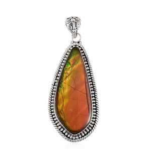 Canadian Ammolite Sterling Silver Pendant without Chain TGW 27.78 cts.