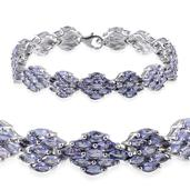 Tanzanite Platinum Over Sterling Silver Bracelet (7.50 In) TGW 15.500 cts.