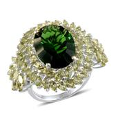 Helenite, Hebei Peridot Platinum Over Sterling Silver Ring (Size 9) TGW 15.650 cts.