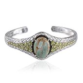 Utah Variscite, Hebei Peridot, Black Diamond Platinum Over Sterling Silver Cuff (7.5 in) TDiaWt 0.010Cts., TGW 22.60 Cts.