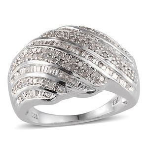 Diamond Platinum Over Sterling Silver Ring (Size 6.0) TDiaWt 1.00 cts, TGW 1.000 cts.