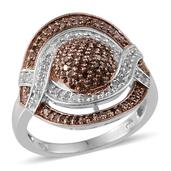 Champagne Diamond, Diamond 14K RG and Platinum Over Sterling Silver Ring (Size 10.0) TDiaWt 0.75 cts, TGW 0.750 cts.