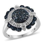 Blue Diamond (IR), Diamond Platinum Over Sterling Silver Ring (Size 10.0) TDiaWt 0.50 cts, TGW 0.500 cts.