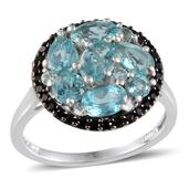 Madagascar Paraiba Apatite, Thai Black Spinel Platinum Over Sterling Silver Ring (Size 7.0) TGW 3.178 cts.