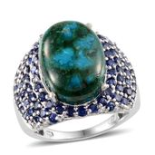 Table Mountain Shadowkite, Lab Created Blue Sapphire Platinum Over Sterling Silver Ring (Size 7.0) TGW 17.20 cts.