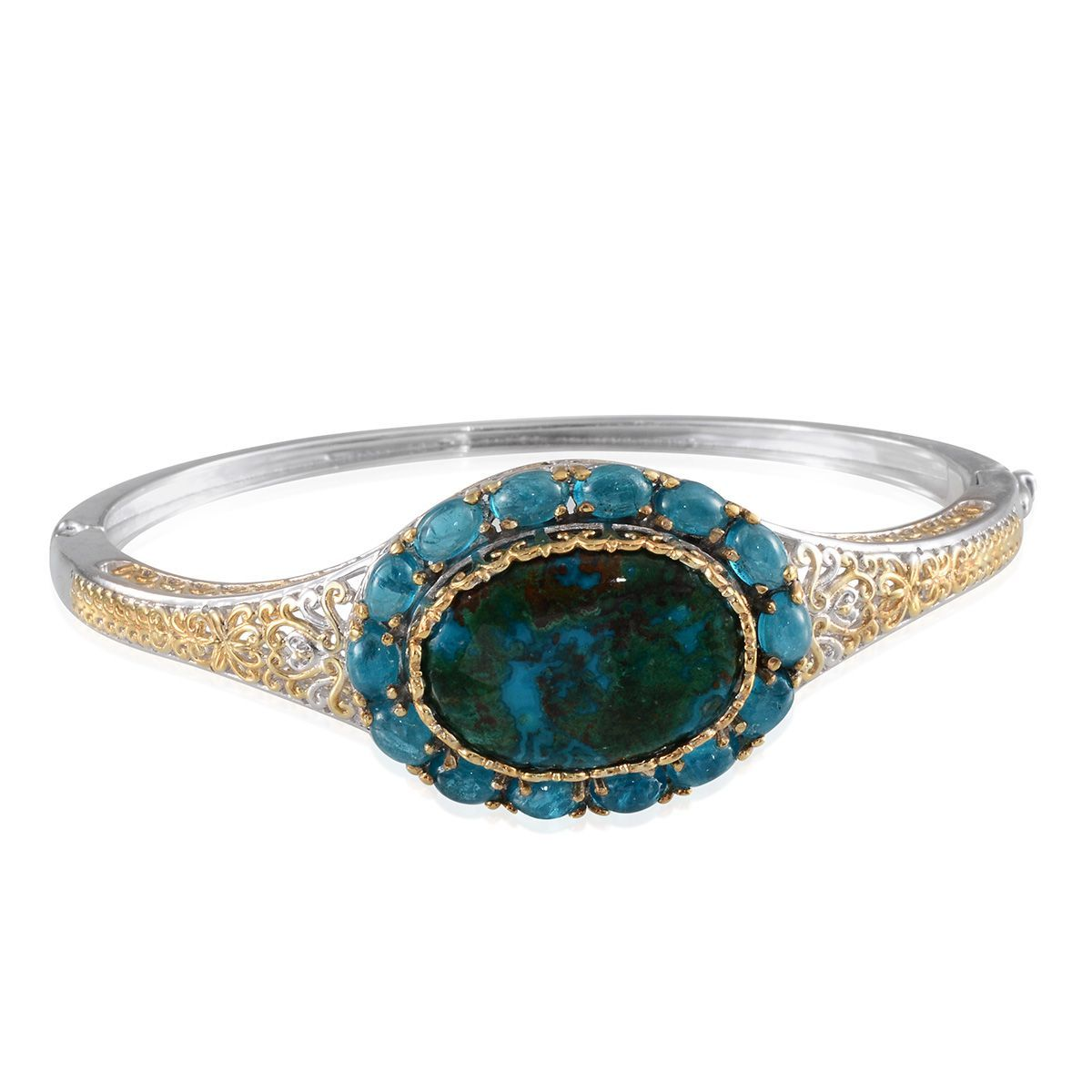 Table Mountain Shadowkite, Malgache Neon Apatite 14K YG and Platinum Over Sterling Silver Bangle (7.5 in) TGW 36.50 Cts.