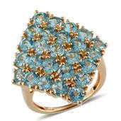 Madagascar Paraiba Apatite 14K YG Over Sterling Silver Ring (Size 6.0) TGW 7.750 cts.