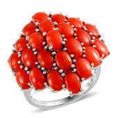 Mediterranean Coral Platinum Over Sterling Silver Enlarged Cluster Ring (Size 6.0) TGW 10.600 cts.