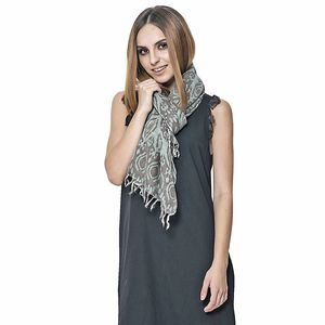 Green Damask Print 100% Merino Wool Scarf (72x28 in)