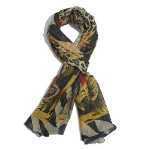 Yellow Leopard Print Modal Blend Scarf (72x40 in)