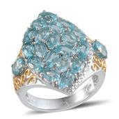 Madagascar Paraiba Apatite, Diamond 14K YG and Platinum Over Sterling Silver Ring (Size 7.0) TDiaWt 0.01 cts, TGW 5.732 cts.