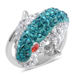 Red, Blue and White Austrian Crystal Stainless Steel Ring (Size 8.0)