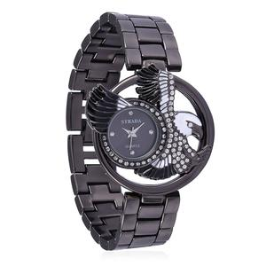 STRADA Austrian Crystal, Enameled Japanese Movement Watch in ION Plated Black Stainless Steel