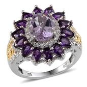 Rose De France Amethyst, Amethyst, White Topaz 14K YG and Platinum Over Sterling Silver Ring (Size 6.0) TGW 4.35 cts.