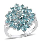 Madagascar Paraiba Apatite, White Topaz Platinum Over Sterling Silver Ring (Size 6.0) TGW 4.085 cts.