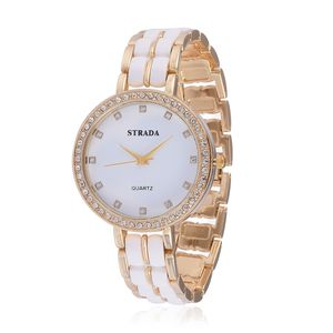 STRADA Austrian Crystal Japanese Movement Watch in Goldtone with Stainless Steel Back