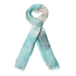 Seafoam 75% Linen and 25% Cotton Scarf (78x31 in)