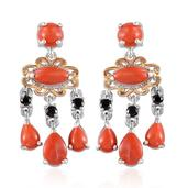 Mediterranean Coral, Thai Black Spinel 14K YG and Platinum Over Sterling Silver Dangle Earrings TGW 5.795 cts.