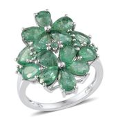 Kagem Zambian Emerald Platinum Over Sterling Silver Floral Ring (Size 7.0) TGW 5.250 cts.