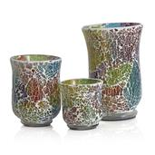 Home Decor Multi Colour Glass Hurricane Set of 3 with Tuffen Work