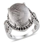 Marvelous Meteorites, Thai Black Spinel Platinum Over Sterling Silver Ring (Size 10.0) TGW 21.960 cts.