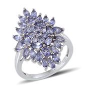 Tanzanite Platinum Over Sterling Silver Ring (Size 5.0) TGW 3.650 cts.