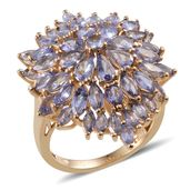 Tanzanite 14K YG Over Sterling Silver Ring (Size 6.0) TGW 6.630 cts.