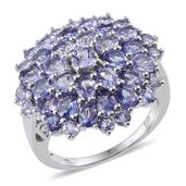 Tanzanite Platinum Over Sterling Silver Cluster Ring (Size 6.0) TGW 6.51 cts.