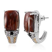 Red Lace Agate, White Topaz, Thai Black Spinel 14K YG and Platinum Over Sterling Silver J-Hoop Earrings TGW 14.63 cts.