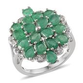 Kagem Zambian Emerald, White Topaz Platinum Over Sterling SilverCluster Split Ring (Size 6.0) TGW 4.92 cts.