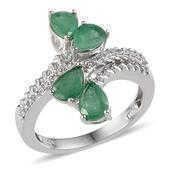 Kagem Zambian Emerald, White Topaz Platinum Over Sterling Silver Ring (Size 10.0) TGW 2.860 cts.