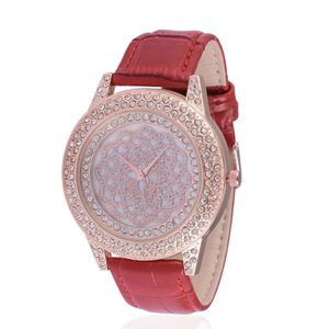 STRADA White Austrian Crystal Japanese Movement Watch in ION Plated RG Stainless Steel with Red Leather Strap TGW 0.001 cts.
