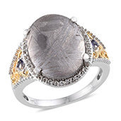 Marvelous Meteorites, White Topaz, Catalina Iolite 14K YG and Platinum Over Sterling Silver Ring (Size 10.0) TGW 18.220 cts.
