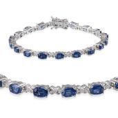Himalayan Kyanite, Diamond Platinum Over Sterling Silver Bracelet (7.50 In) TDiaWt 0.15 cts, TGW 11.650 cts.