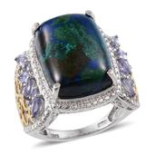 Aurora Azurite, Tanzanite 14K YG and Platinum Over Sterling Silver Ring (Size 8.0) TGW 15.350 cts.