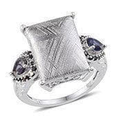 Marvelous Meteorites, Catalina Iolite, Thai Black Spinel Platinum Over Sterling Silver Ring (Size 8) TGW 21.580 cts.