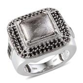Marvelous Meteorites, Thai Black Spinel Platinum Over Sterling Silver Ring (Size 8.0) TGW 13.910 cts.