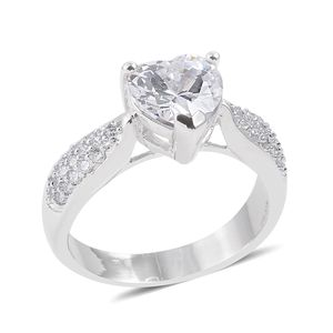 Simulated Diamond Silvertone Ring (Size 9.0) TGW 3.24 cts.