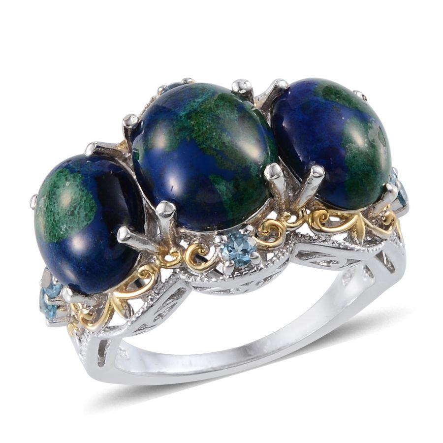 Aurora Azurite (Ovl 4.00 Ct), Electric Blue Topaz Ring in 14K YG and Platinum Overlay Sterling Silver Nickel Free (Size 10) TGW 10.60 Cts.