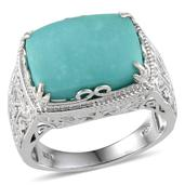 Sonoran Blue Turquoise Platinum Over Sterling Silver Ring (Size 8.0) TGW 8.850 cts.