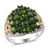 Russian Diopside 14K YG and Platinum Over Sterling Silver Openwork Cluster Ring (Size 5.0) TGW 6.500 cts.