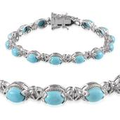 Arizona Sleeping Beauty Turquoise Platinum Over Sterling Silver Bracelet (7.50 In) TGW 7.900 cts.