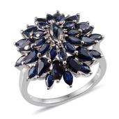 Kanchanaburi Blue Sapphire Platinum Over Sterling Silver Radiant Cluster Ring (Size 6.0) TGW 5.600 cts.