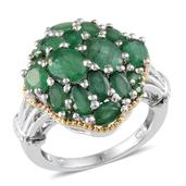 Kagem Zambian Emerald 14K YG and Platinum Over Sterling Silver Ring (Size 6.0) TGW 5.150 cts.