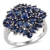 Kanchanaburi Blue Sapphire Platinum Over Sterling Silver Floral Cluster Ring (Size 7.0) TGW 5.000 cts.
