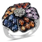 Multi Sapphire Platinum Over Sterling Silver Cluster Plumeria Ring (Size 6.0) TGW 6.750 cts.