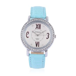 STRADA Austrian Crystal Japanese Movement Watch with Seafoam Band with Stainless Steel Back